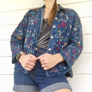 Jackets & Blazers - Floral Denim Jacket